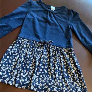 Gap 3T Sweatshirt Dress Navy with Flower Skirt